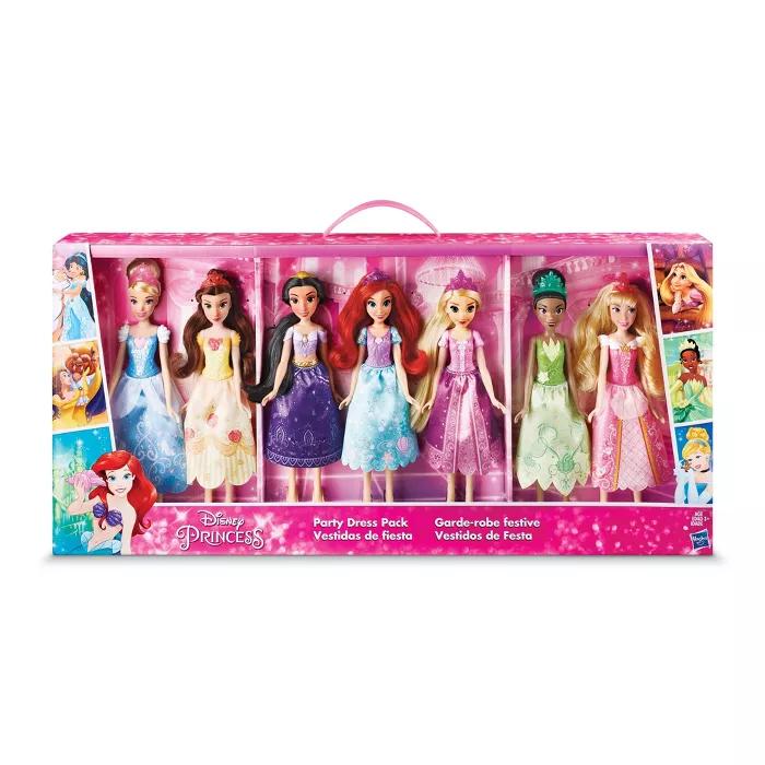 Disney Princess Party Dress Pack Set Of 7 Disney Princess Party Disney Princess Dolls Disney Barbie Dolls
