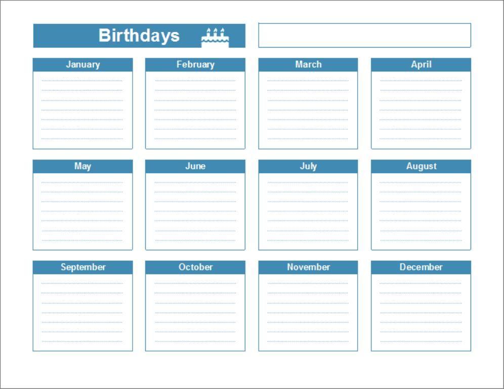 Birthday Reminder Calendar Template #birthdaycalendar