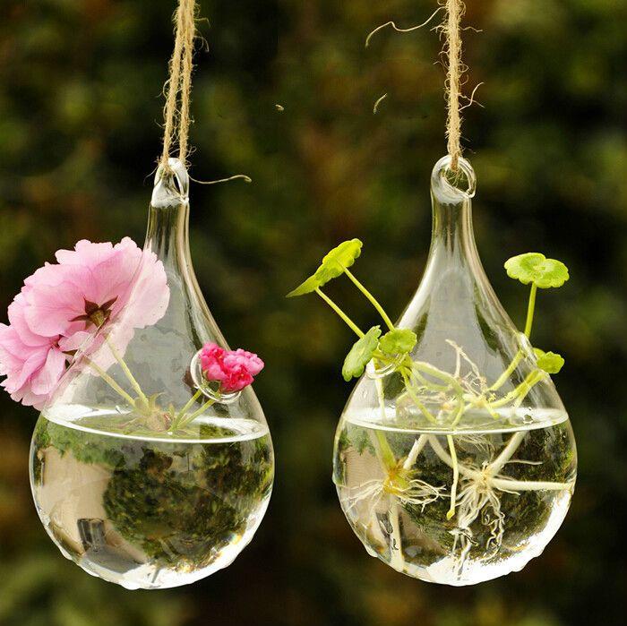 d coration vase en verre suspendu en forme de poire avec plantes miniatures home sweet home. Black Bedroom Furniture Sets. Home Design Ideas