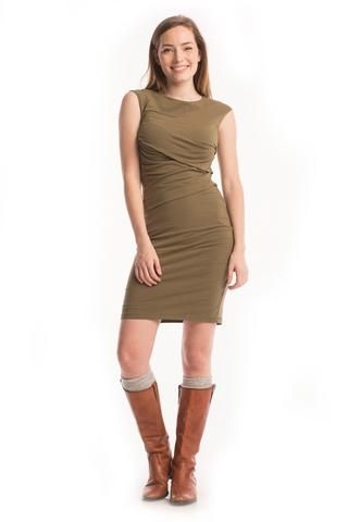 Column Dress in Burnt Olive - Synergy Organic Clothing