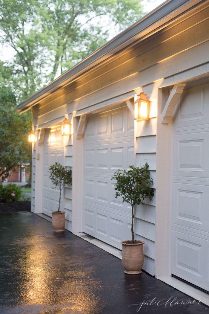 Easy Outdoor Decorating And Design Via Julieblanner Garage Decor Garage Lighting House Exterior