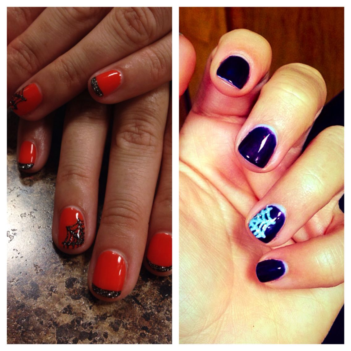 Halloween Nails, orange, purple, spider web | Halloween ...