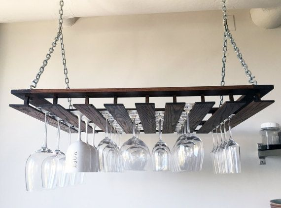 custom hanging wine glass rack by mfwworkshop on etsy - Hanging Wine Glass Rack