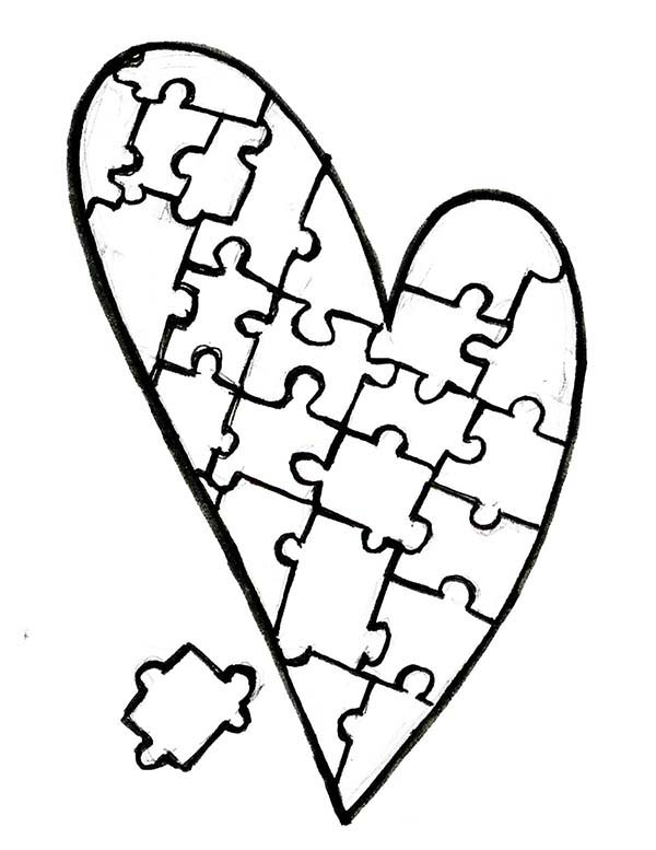 Heart Shaped Puzzles Coloring Page : Coloring Sky di 2020 ...