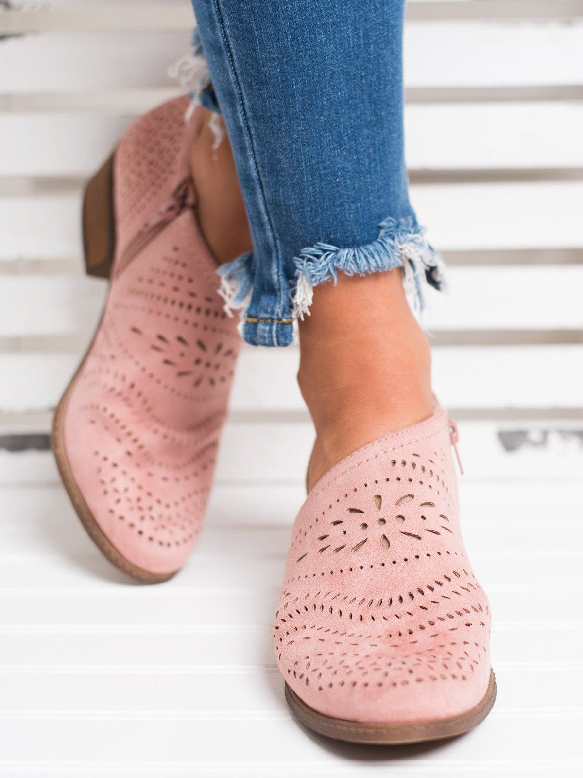 Hollow Booties out Low Heel Cutout Booties Hollow Faux Suede Zipper Ankle boats 2a430d
