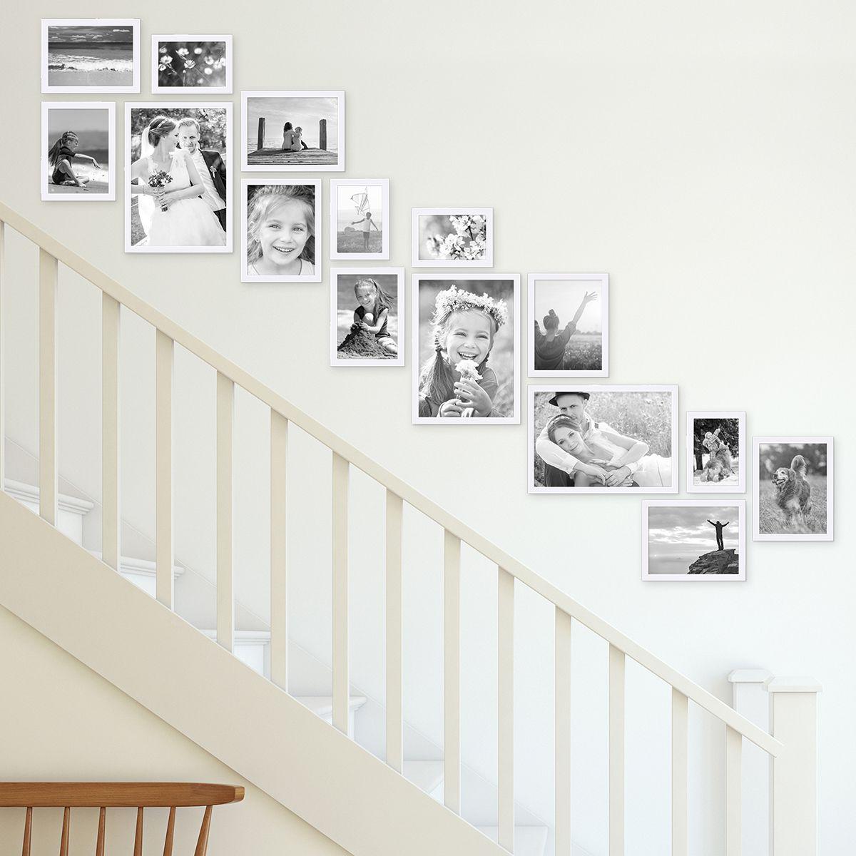 Wandgestaltung Treppenaufgang Gestalten: 15er Bilderrahmen-Set Modern