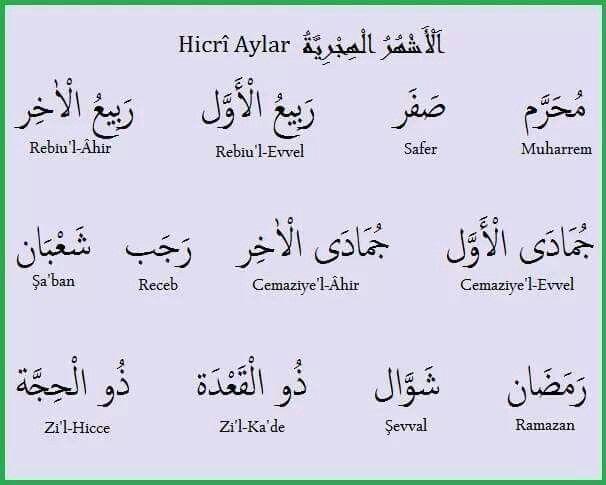 الأشهر الهجرية باللغة التركية Islamic Teachings Learn Turkish Teachings