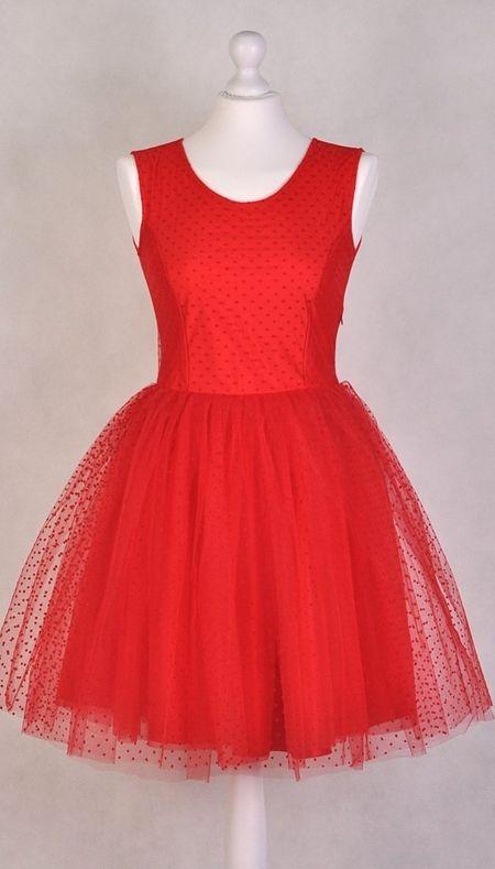 Czerowona Tiulowa Sukienka Mini Dress Outfits Dresses