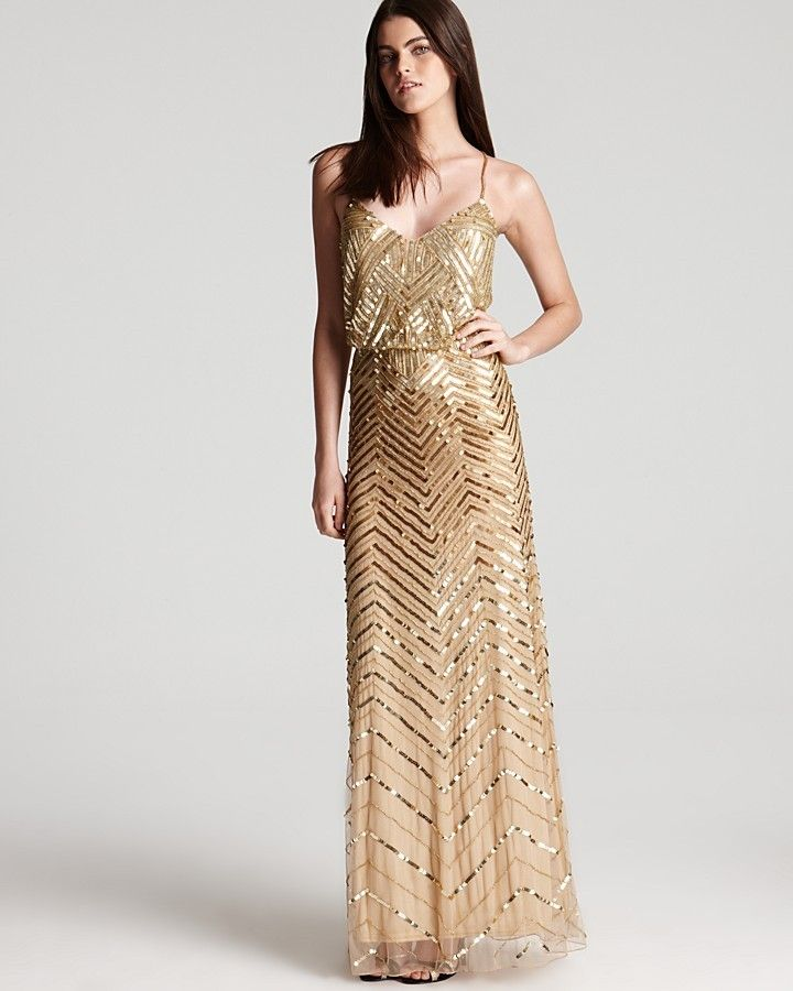 Adrianna Papell Beaded Gown - Sleeveless V Neck Blouson at ShopStyle ...
