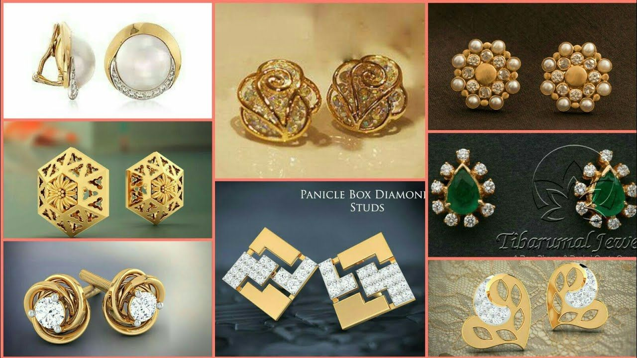 4a9301379af Latest Stylish  amp  Trendy Gold ear studs  tops Designs For Girls 2018  https