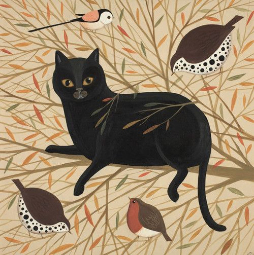 'Curious Cat' By Painter Catriona Hall. Blank Art Cards By Green Pebble. www.greenpebble.co.uk