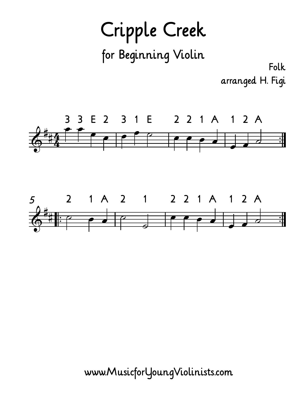FIDDLE MUSIC: Cripple Creek for beginning violin  Happy