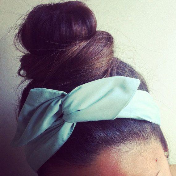 Pretty Mint Green Dolly Bow Headband