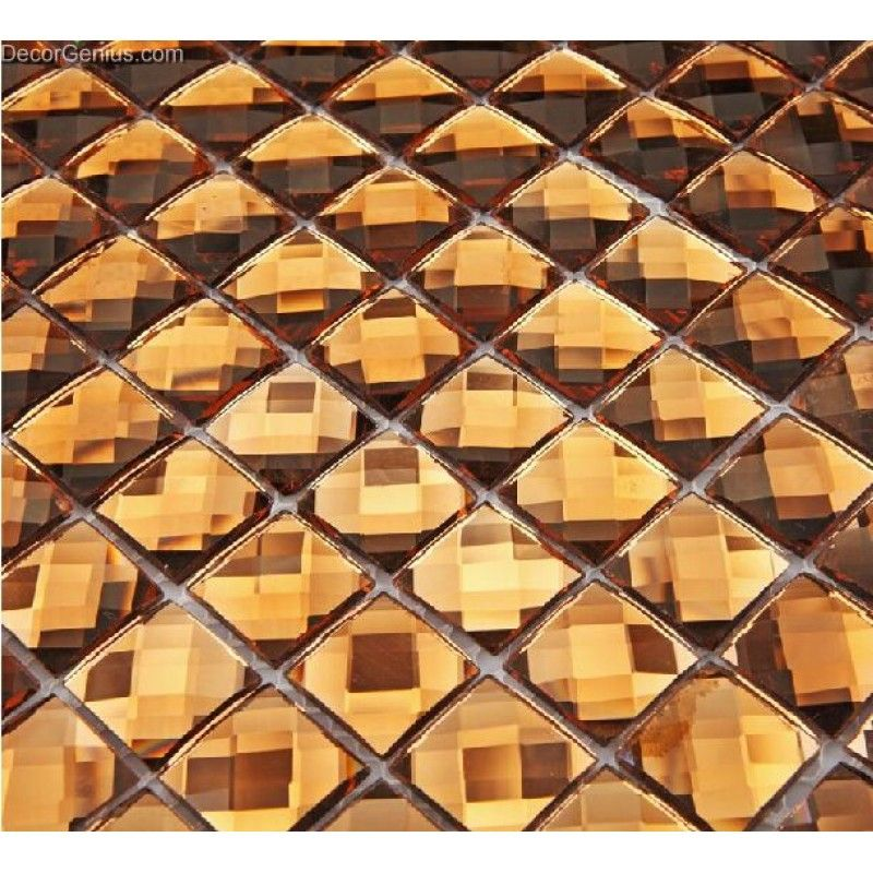 13 Faced Gold Crystal Mirror Backsplash Discount Tiles Shining ...
