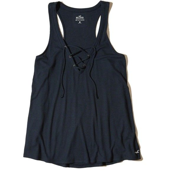 Hollister Must-Have Easy Lace-Up Tank (€12) ❤ liked on Polyvore featuring tops, navy, racerback tank tops, navy blue tank top, racerback tank, lace-up tank tops and navy tank top