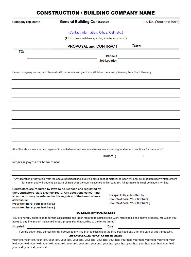 construction estimate form print result