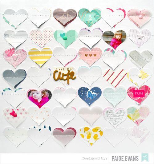 Hearts scrapbook layout