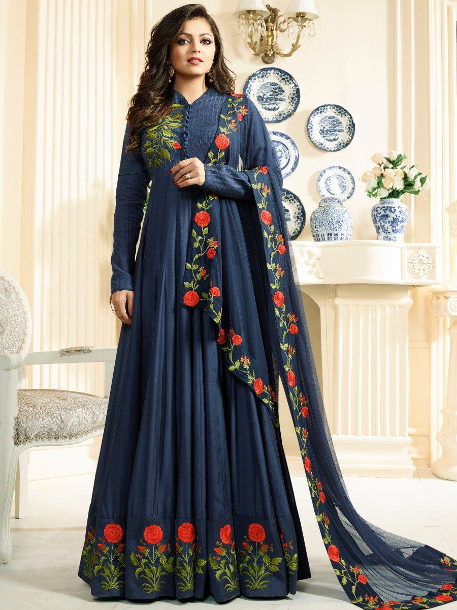 buy drashti dhami navy blue color silk party wear anarkali