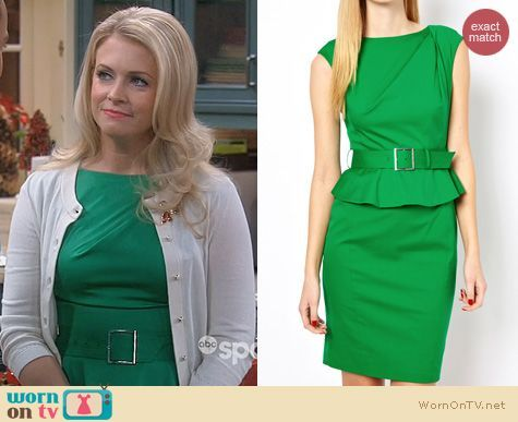 Melissa Joan Hart Fashion: Karen Millen Green Peplum Dress worn on Melissa & Joey