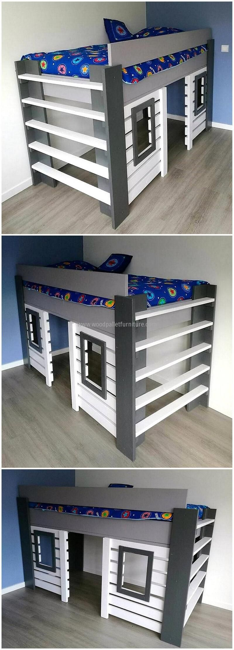 Gray loft bed with desk  bunk bed made with pallets wood  детская  Pinterest  Pallet wood