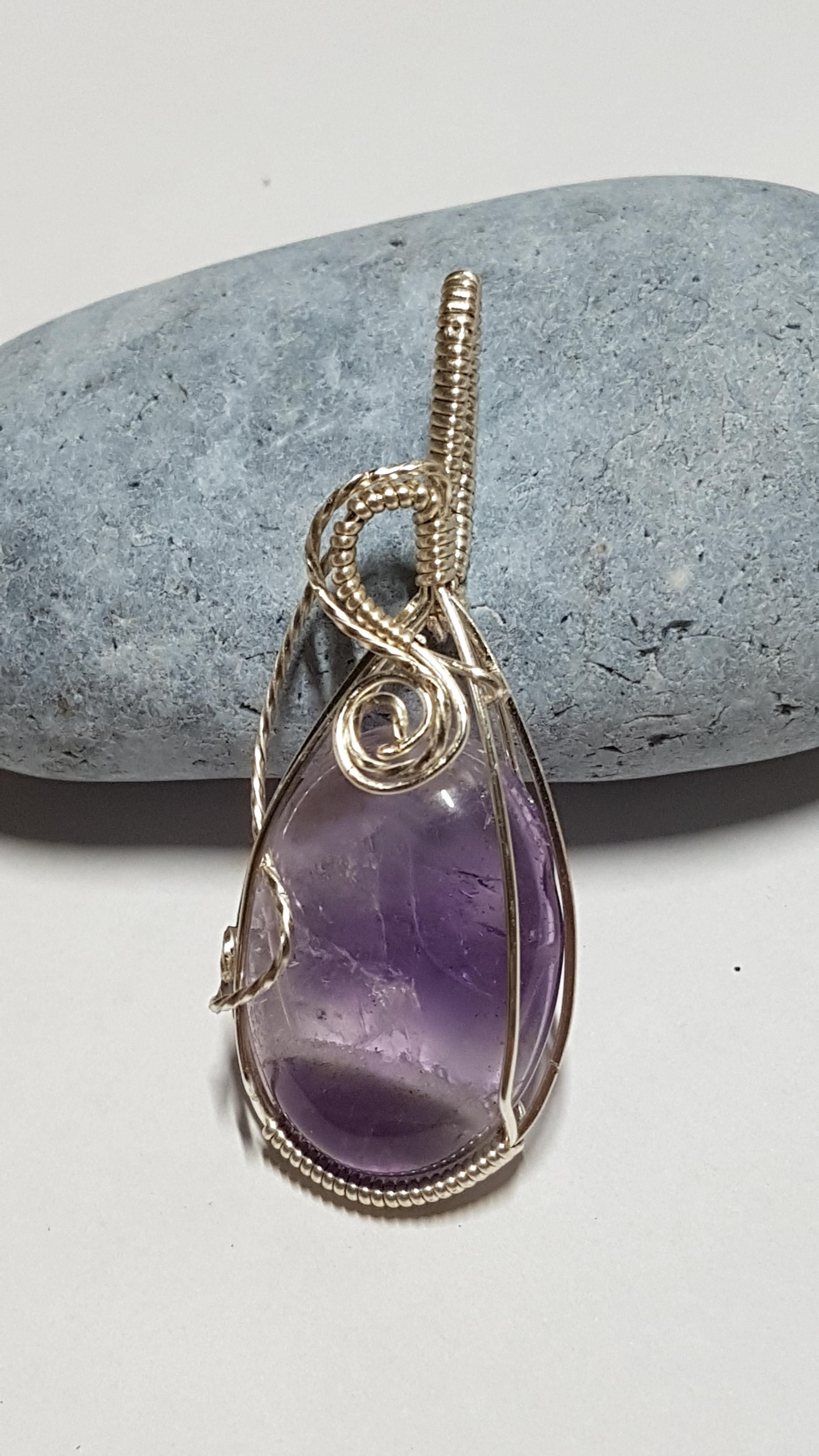 Wire wrapped amethyst gemstone necklace, silver plated, unique ...
