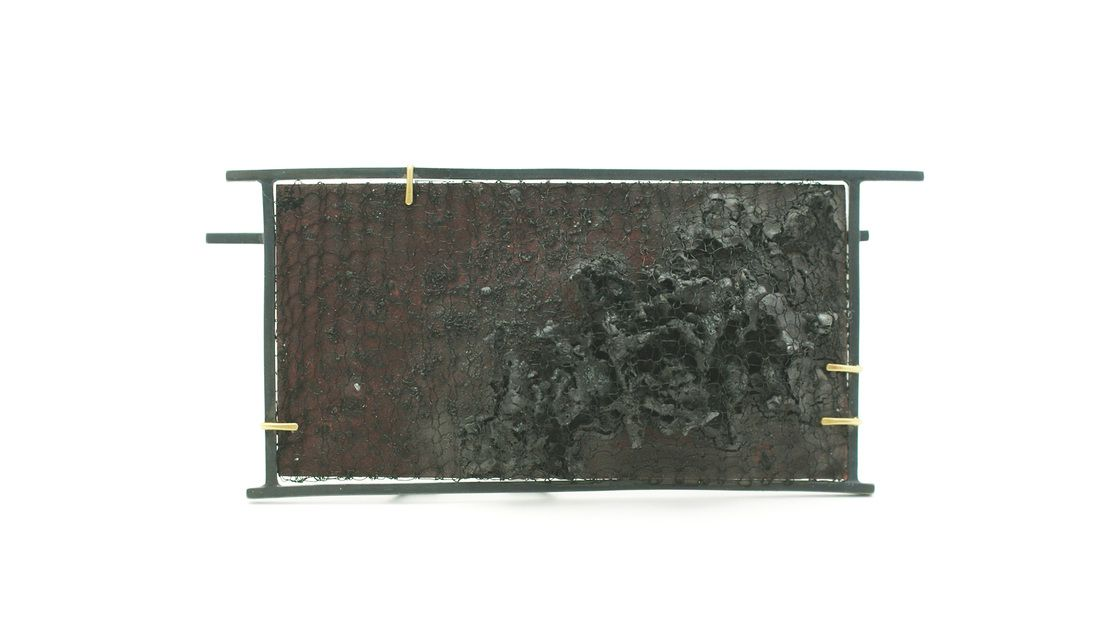 """JENNY LAIDLAW-UK Black Moss Brooch - oxidised silver, copper, enamel 9 x 4 x 1cm from """"No use in crying over spilt milk, 2011"""""""
