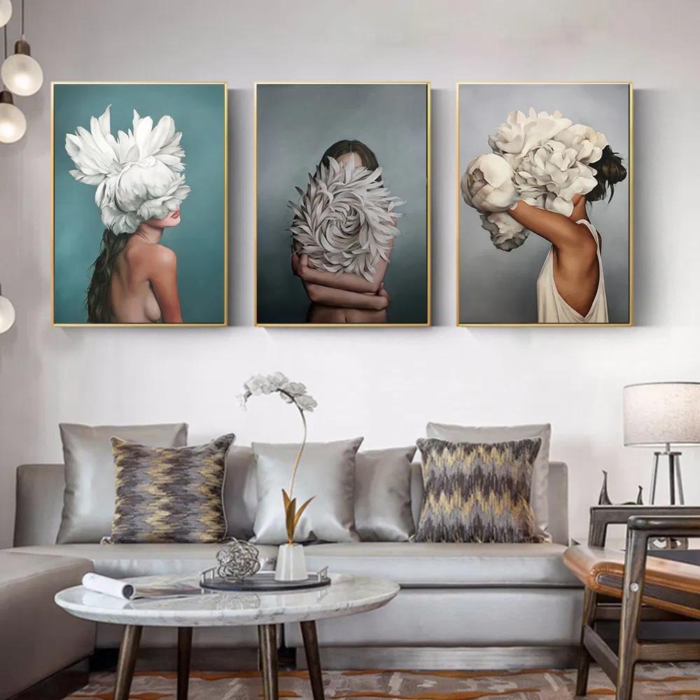 100 Handmade Big Size Posters Flowers Feather Women Oil Painting Canvas Wall Pictures For Living Room Home Decoration Kiz Odasi Dekorasyonu Oda Dekoru Ve Duvar Dekorasyonu