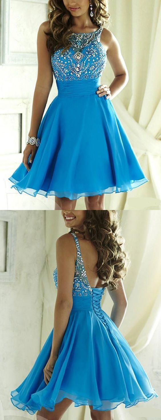 Short tulle prom dress backless homecoming dress baby blue