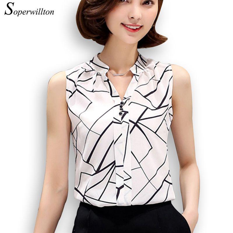 eb9ae82f3b Barato Soperwillton Nova Verão Mulheres Blusa Chiffon Impresso Blusa Sem  Mangas Listrado Branco Blusas Camisas Femininas Camisa Escritório   A806