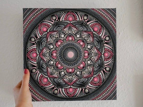 mandala leinwand handbemalt punktmalerei dotpainting