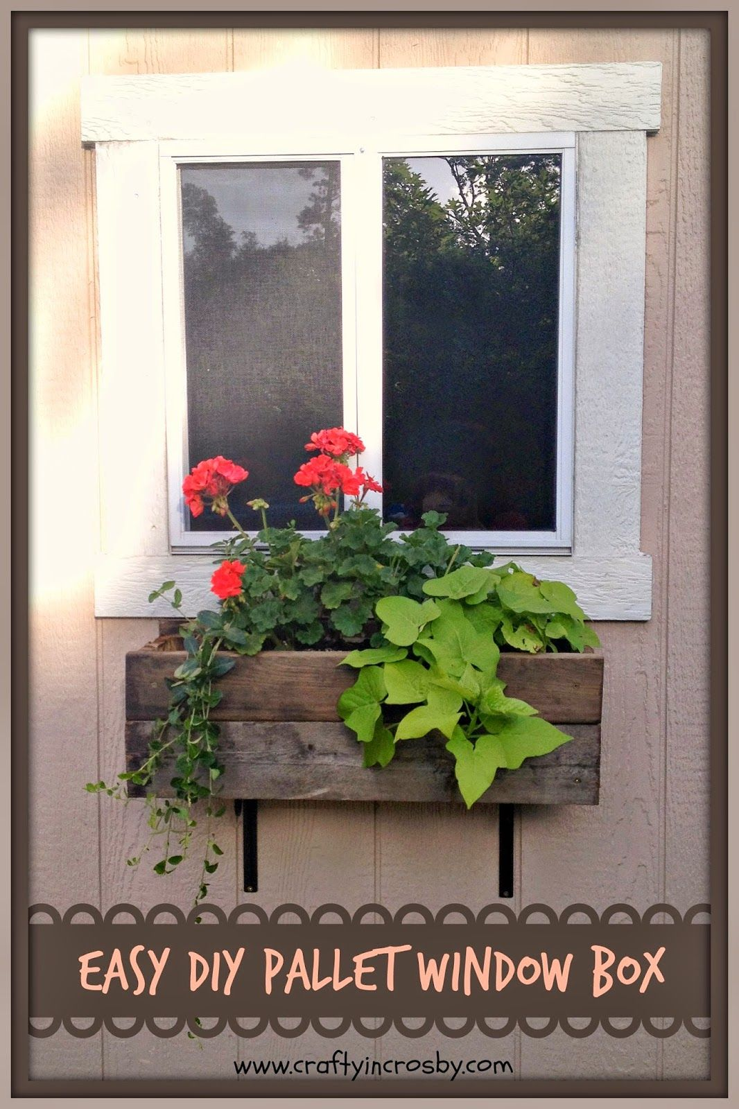 Easy DIY Pallet Window Box Diy flower boxes, Window box
