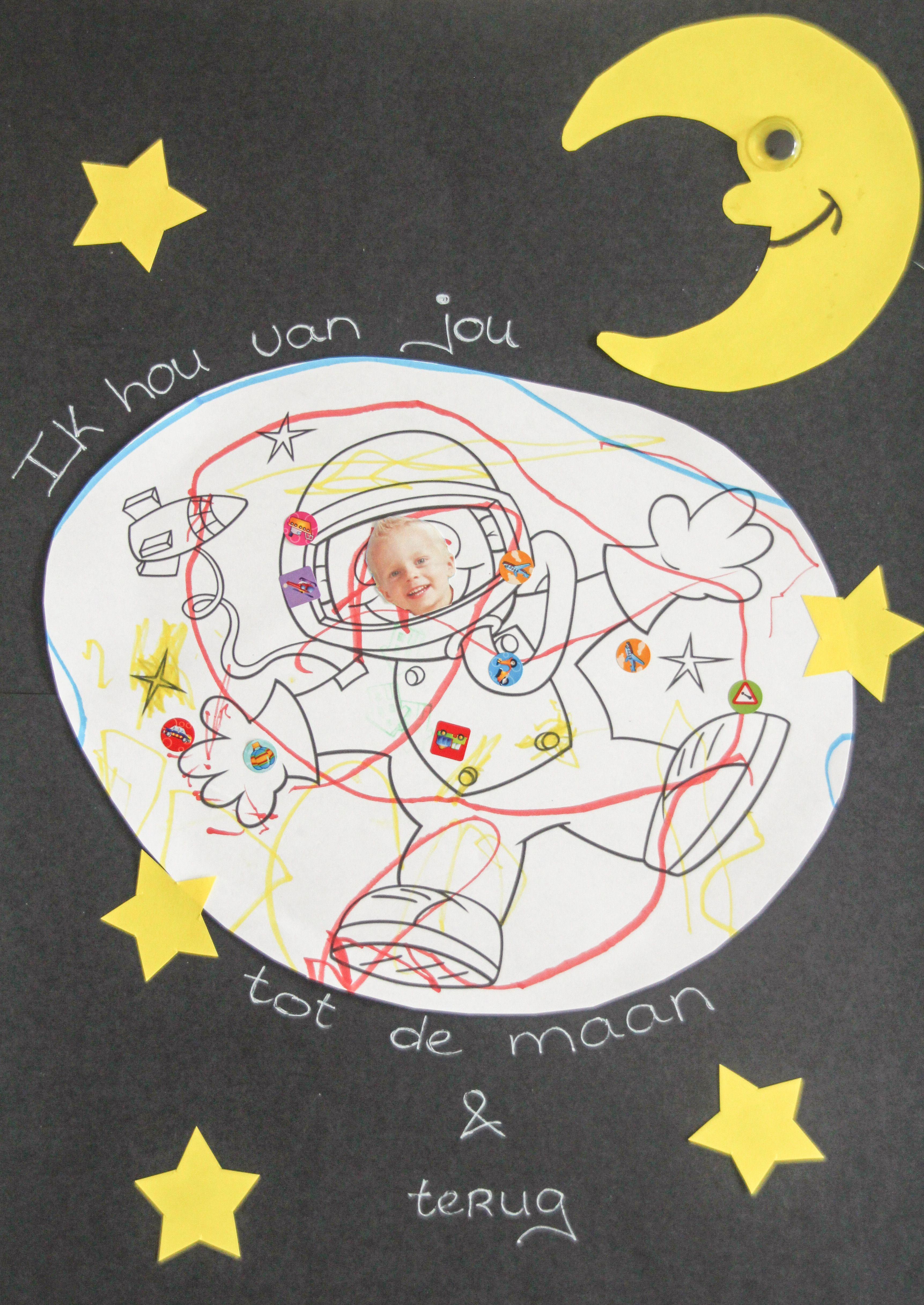 Ik Hou Van Jou Tot De Maan En Terug Leuk Idee Voor Vaderdag Moederdag Of Voor Opa Oma Afbeelding Astronaut Via Google Diy Vaderdag Moederdag Knutselen