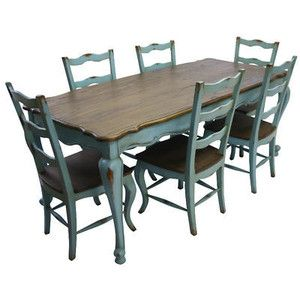 Perfect Rustic Farm Table And Chairs | French Rustic Country Dining Table And Chairs  Set Designer Teal Blue P ..