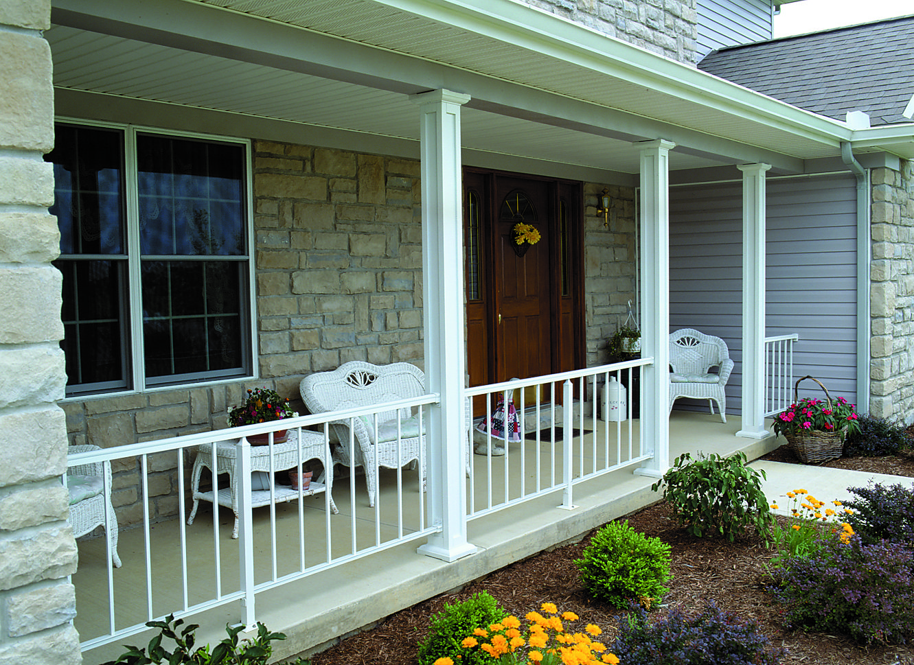 Residential Railing on a Front Porch with Square Panel ...