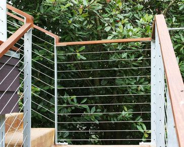 Cable Rail At Concrete Steps Contemporary Exterior Seattle Concrete Steps Outdoor Handrail Outdoor Stairs
