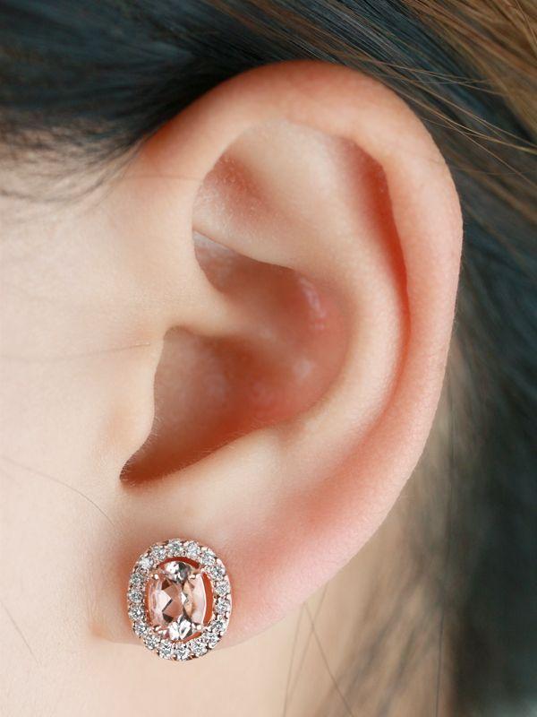 Morganite And Diamond Halo Solid 14 Karat Gold Stud Earrings