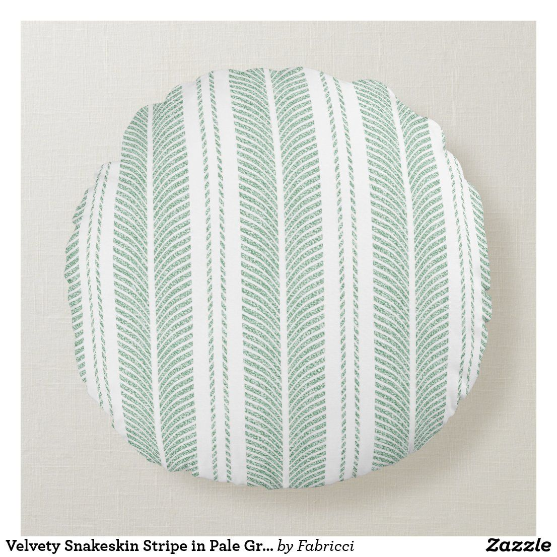 Velvety Snakeskin Stripe in Pale Green Round Pillow