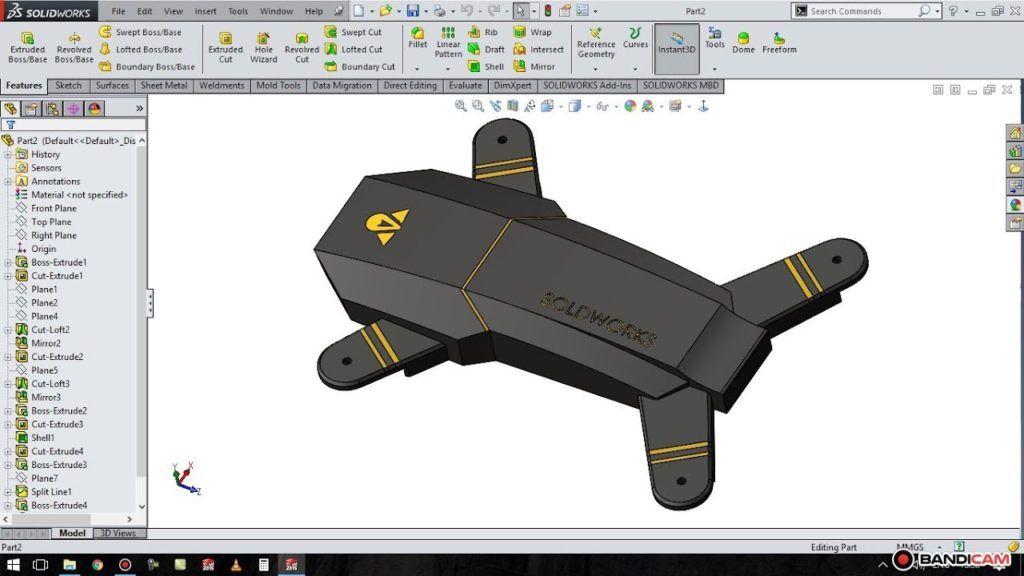 solidworks tutorial # 32 : make design drone part 1
