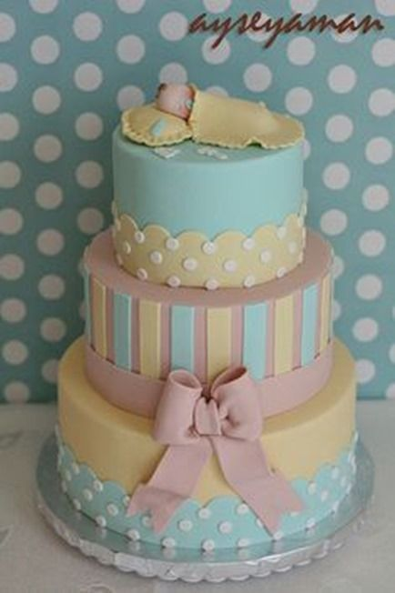 cake boss cakes baby shower   Baby Shower Cakes line-up #9: Neutral Colored, Polka dots, Pretty.