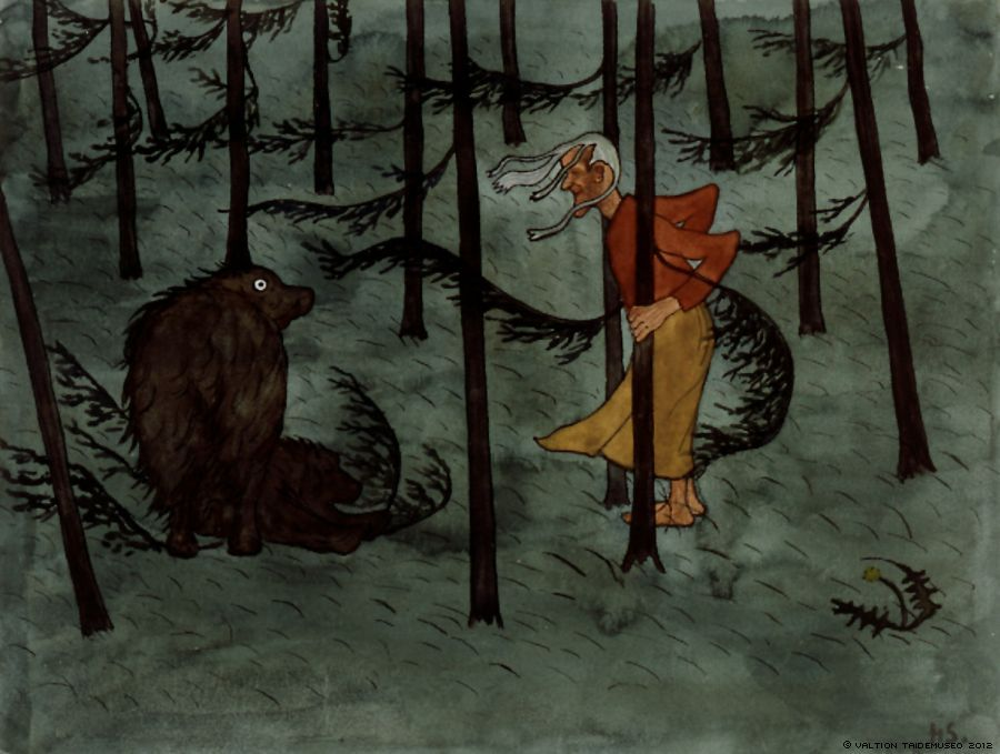 Finnish National Gallery - Art Collections - Fear in The Woods, (1896).  Hugo Simberg.  An aquarelle.