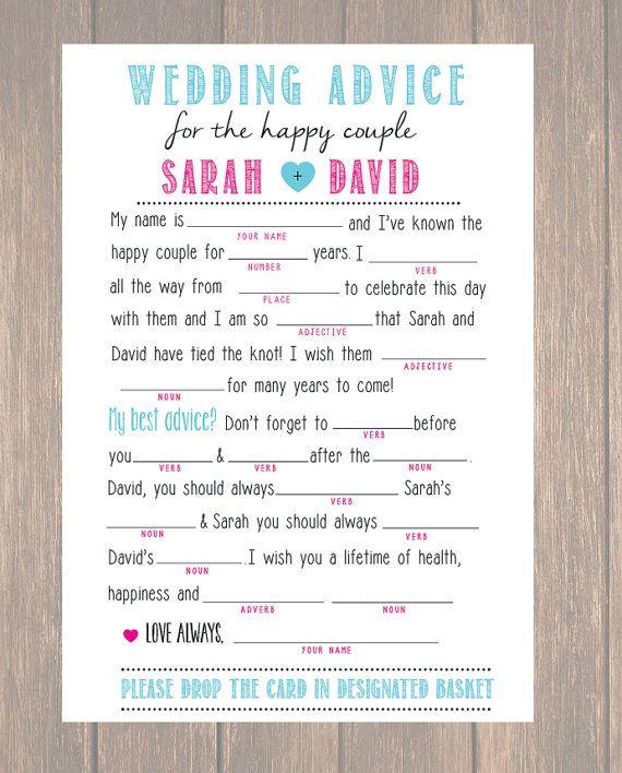 Wedding Advice Card, Wedding Mad Libs, DIY Printable