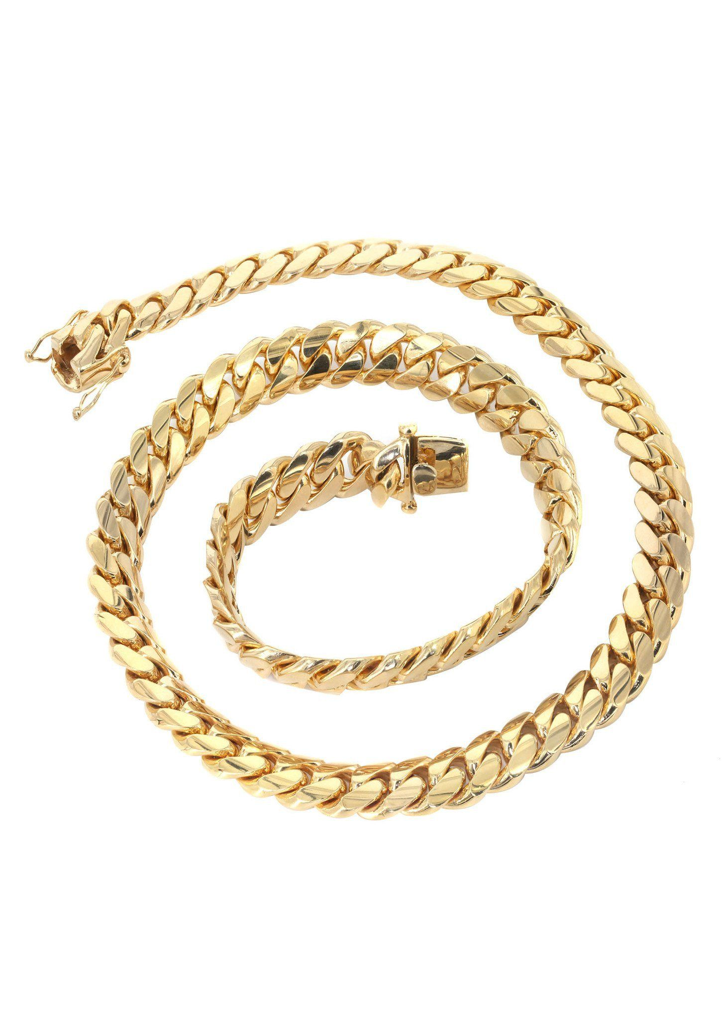 Mens Chain Solid Miami Cuban Link 10k Gold In 2020 Chains For Men Cuban Link Chain Gold Cuban Link Chain