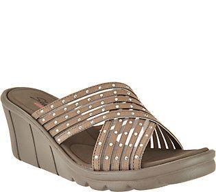 a5d0be5464ec Skechers Cross-Band Slide Wedge Sandals - Star Light