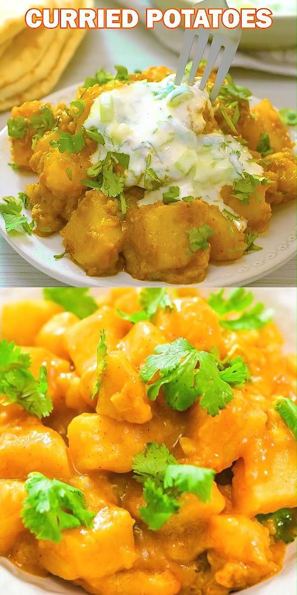 This Potato Curry makes an incredible dinner. It is a one-pot meal that requires minimum ingredients and delivers maximum flavor! I serve it with delicious cucumber-yogurt sauce, which complements potatoes so well! FOLLOW Cooktoria for more deliciousness! #potatoes #curry #dinner #vegan #vegetarian #easyrecipe #plantbased #healthy #cooktoria