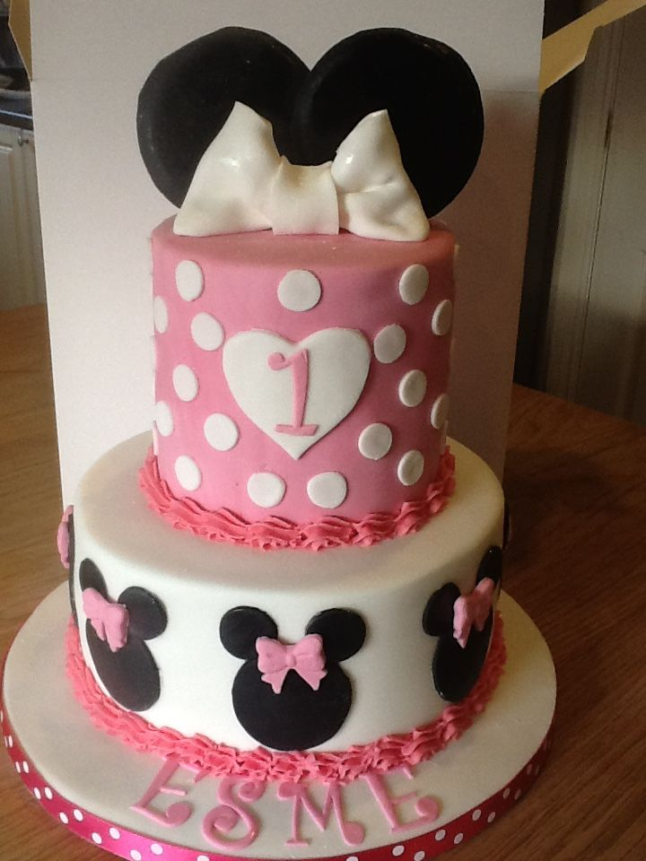 2 Tier 1st Birthday Minnie Mouse Cake Cakes I Have Made