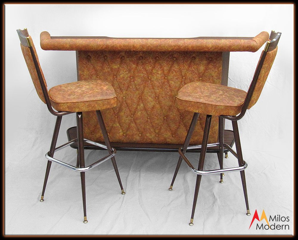 Vintage 60s Mid Century Modern Chromcraft Dry Bar W Stools Orange Brown Nice