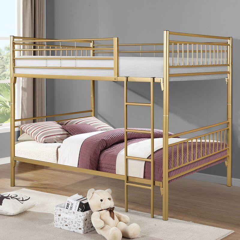Viv Rae Adrianna Full Over Full Bunk Bed Reviews Wayfair In 2020 Full Bunk Beds Metal Bunk Beds Bunk Beds