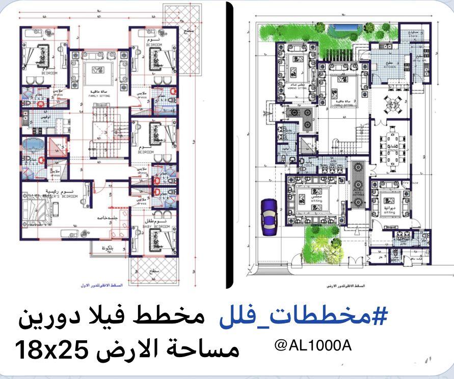تصاميم معمارية مخطط فيلا Family House Plans Architectural House Plans Villa Plan