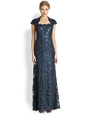 23ecd3fad9f7f6 Tadashi Shoji Sequin Lace Cap-Sleeve Gown 430.00 A timelessly-elegant gown  in a flared, floor-grazing silhouette, tailored from sequin-embellished  floral ...