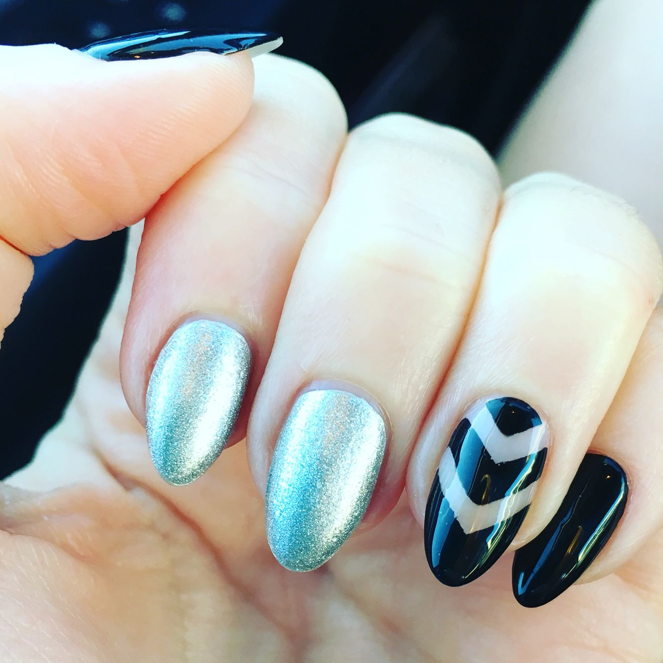 Nail art : silver and black with negative space | Aubrey\'s Nail Art ...